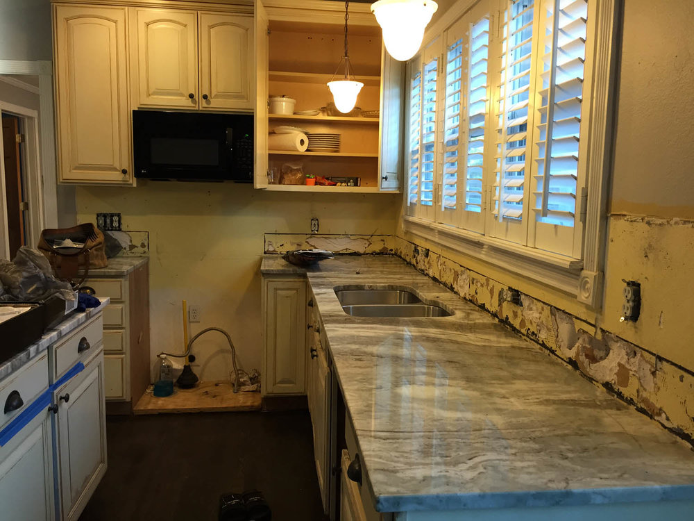 Fantasy Brown marble countertop installation in the kitchen.