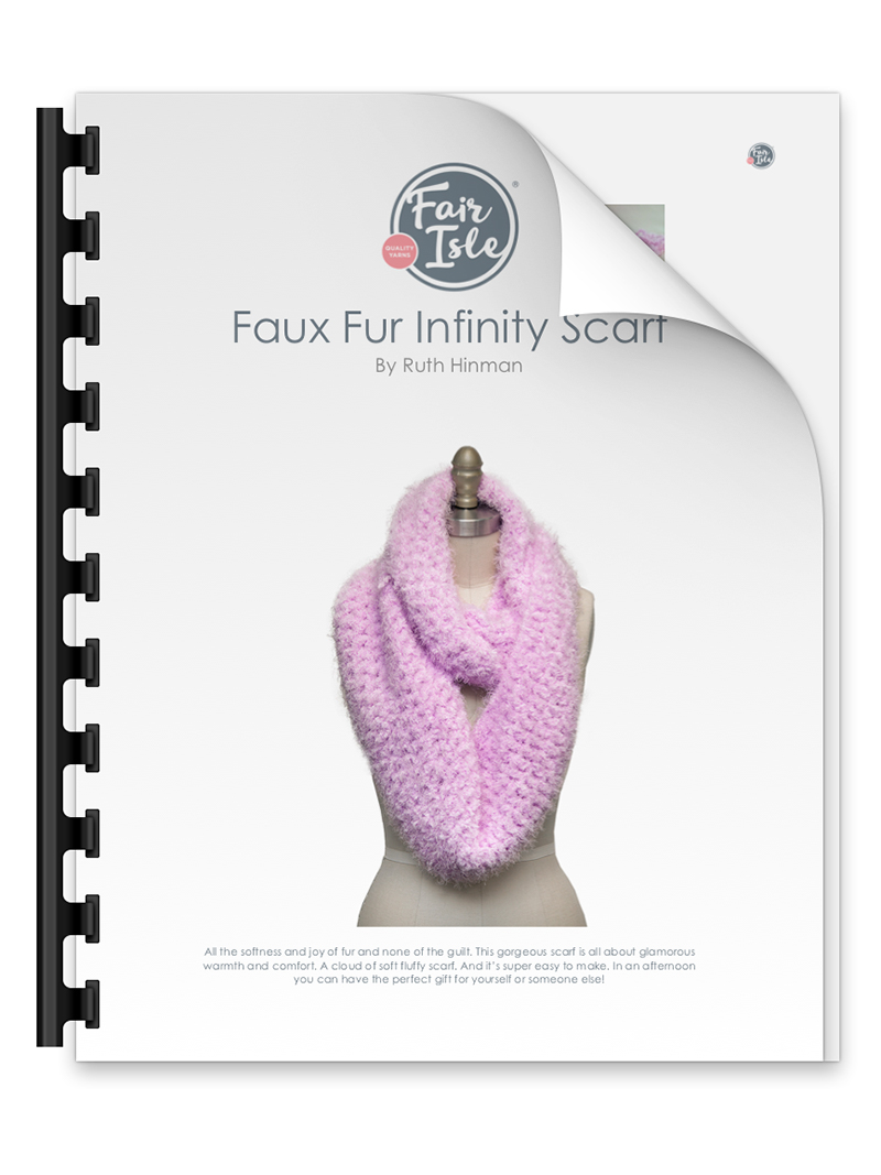 Fair Isle Yarn Faux Fur Infinity Scarf by Ruth Hinman free pattern.