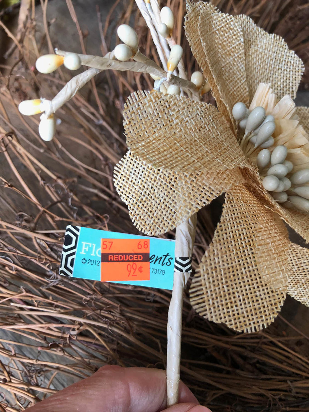 burlap flower pick with Hobby Lobby price tag