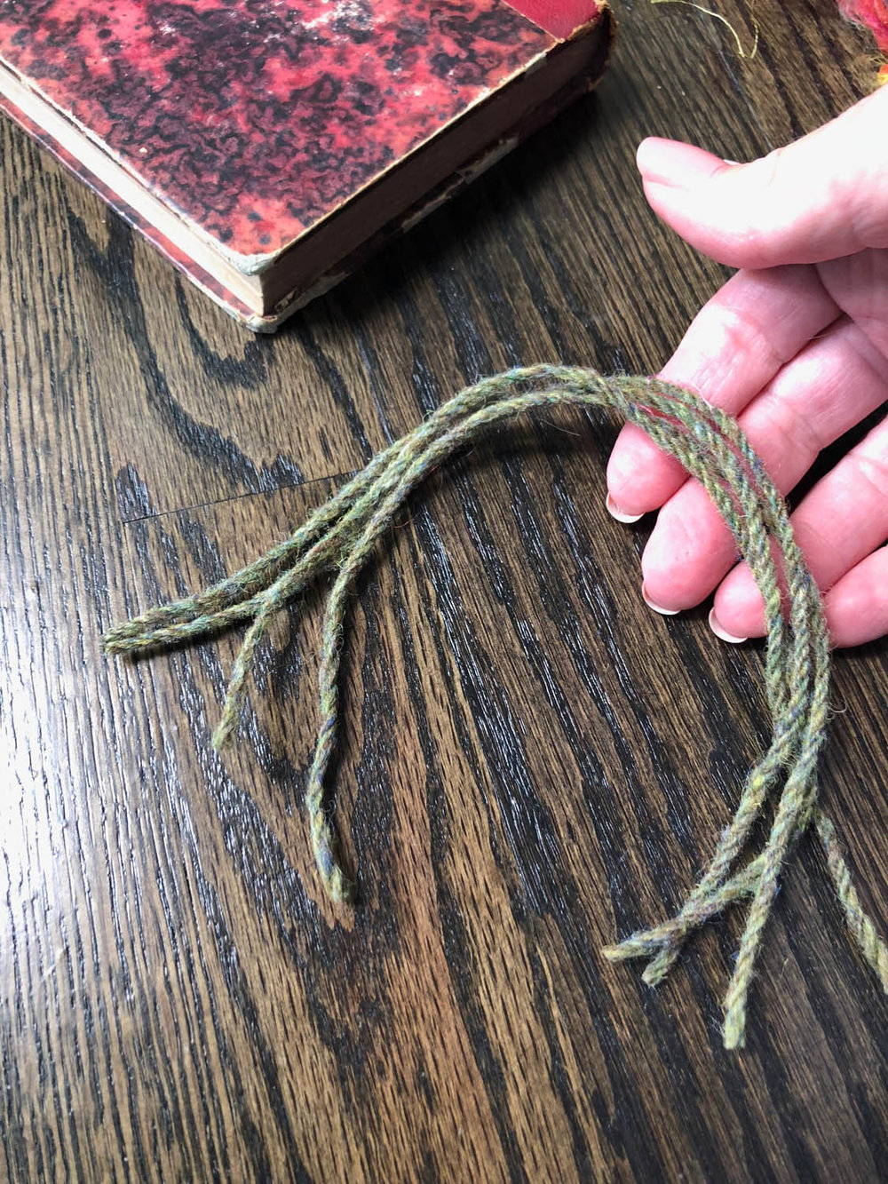 short yarn strands to be used for tassels