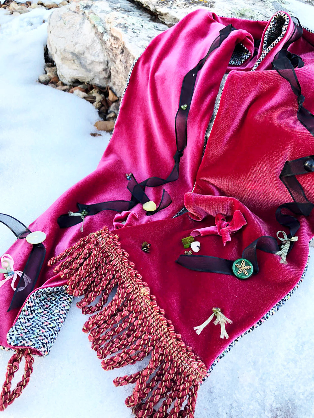 Hand made embellished velvet dressy winter scarf on snow