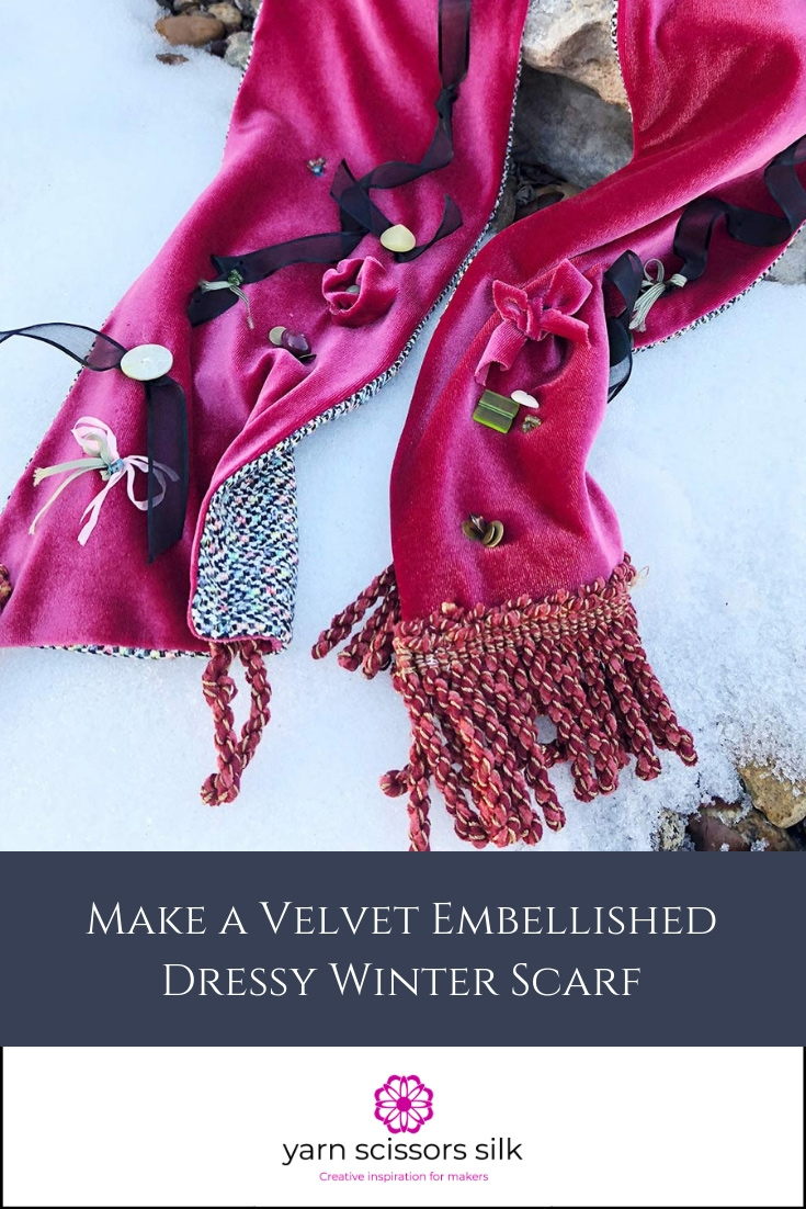Make a velvet embellished dressy winter scarf with the Yarn Scissors Silk tutorial.