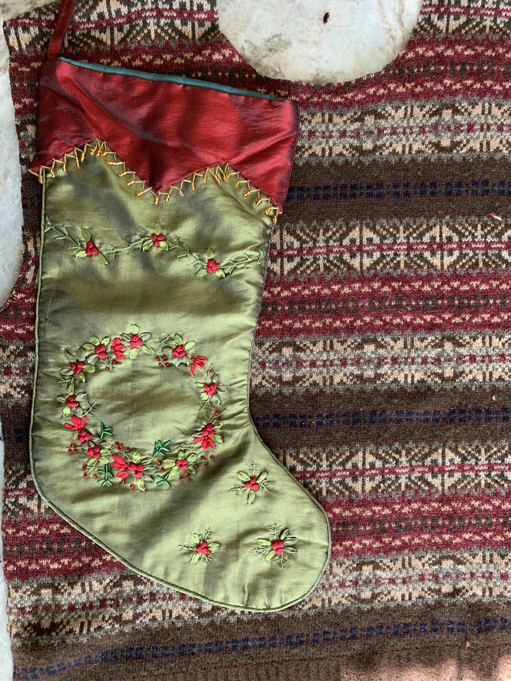 old stocking used as pattern