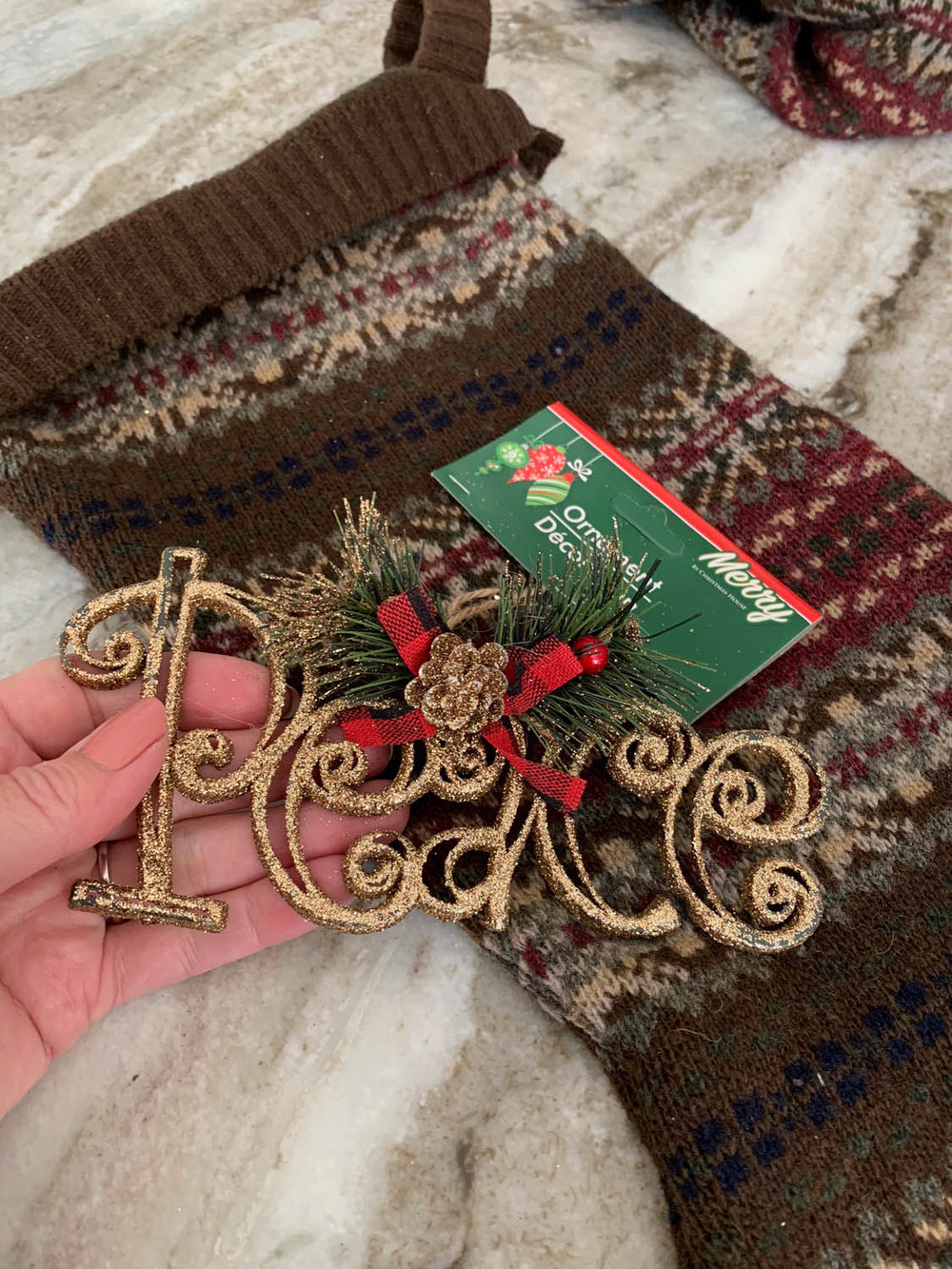 Gold glitter Peace ornament purchased from the Dollar Store