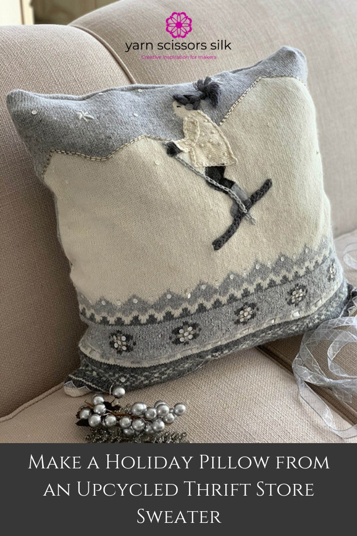 Make an inexpensive Christmas holiday pillow from an upcycled thrift store sweater for your home decor or a gift.