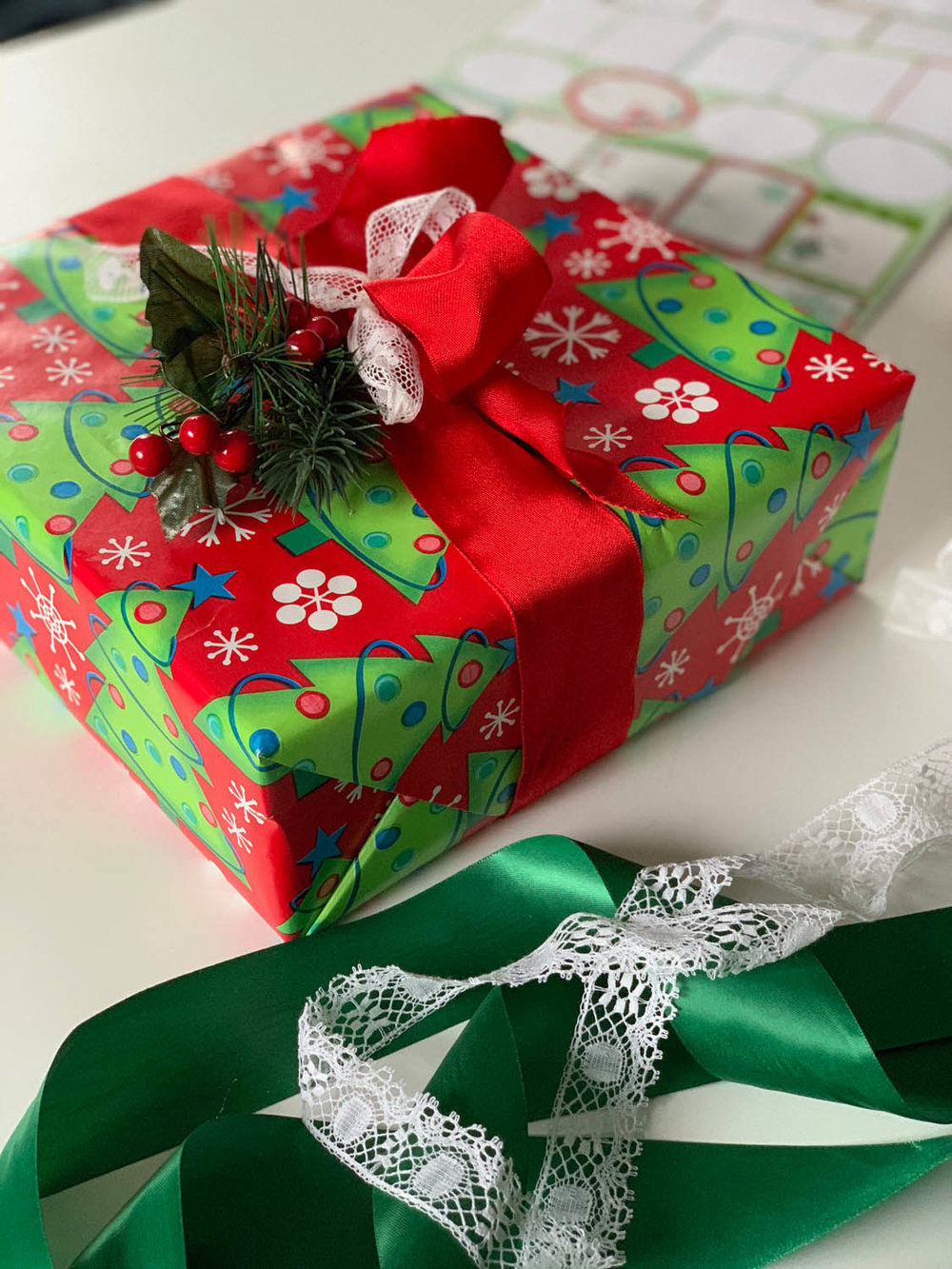 read and green Christmas gift trimmed with ribbons and greenery embellishment