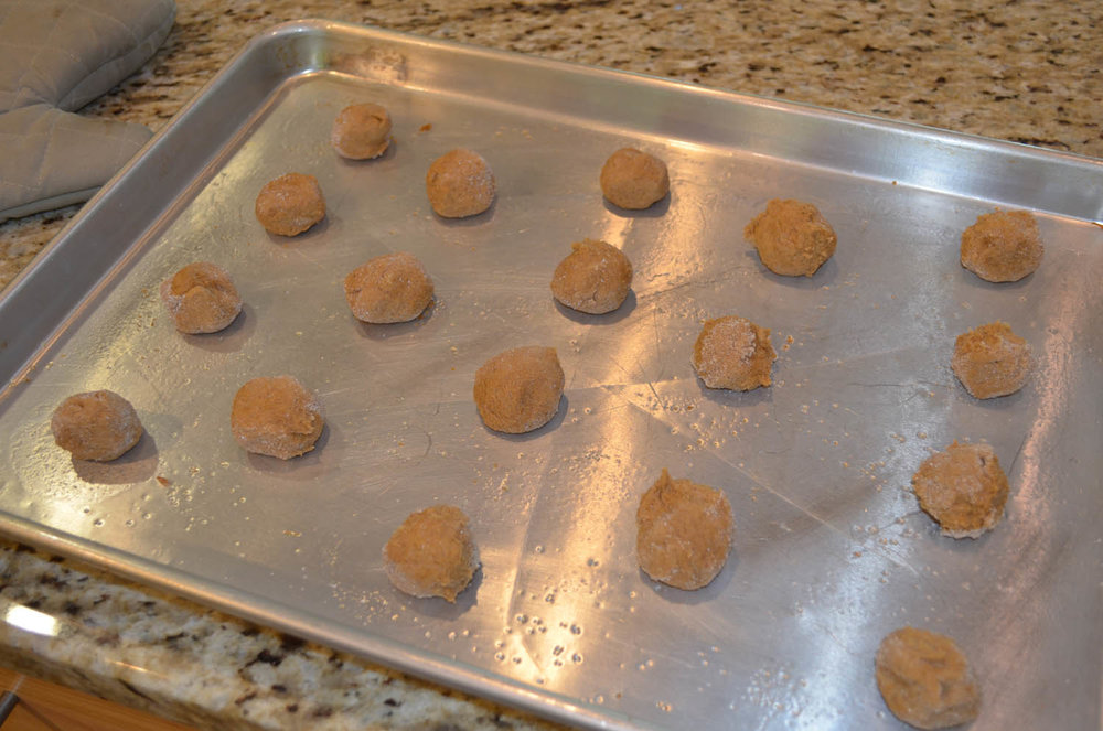 sugar-dusted chewy ginger cookie dough balls arranged on a baking sheet