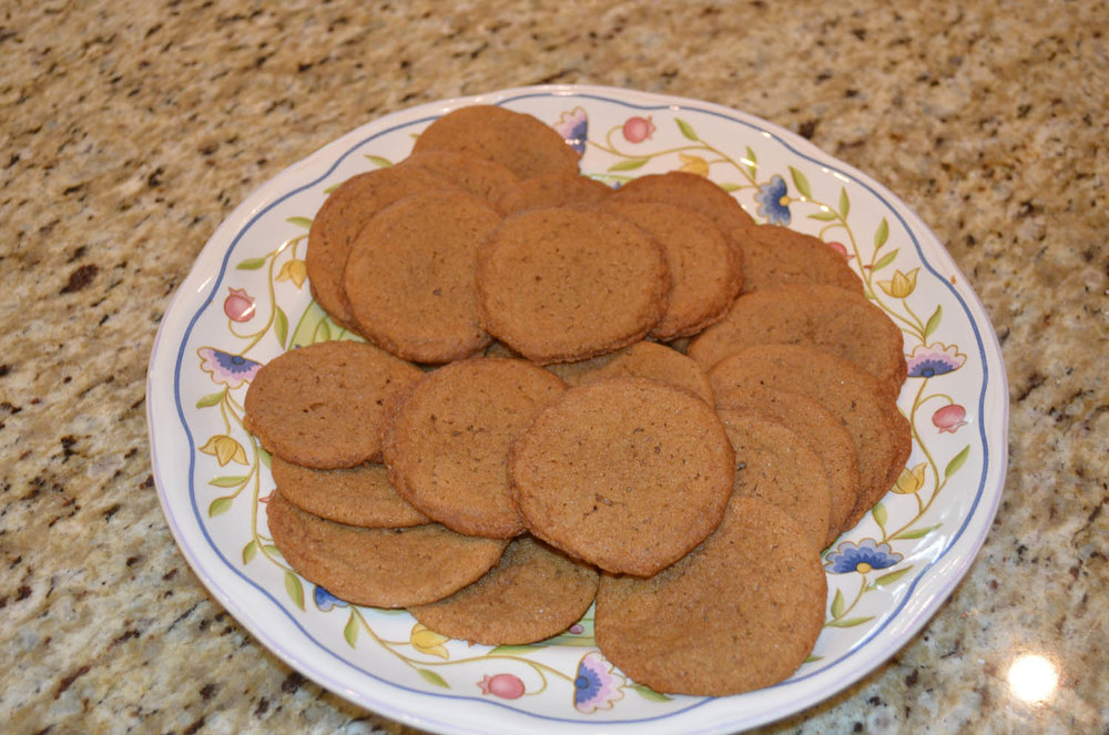 plate of fresh baked homemade chewy ginger cookies