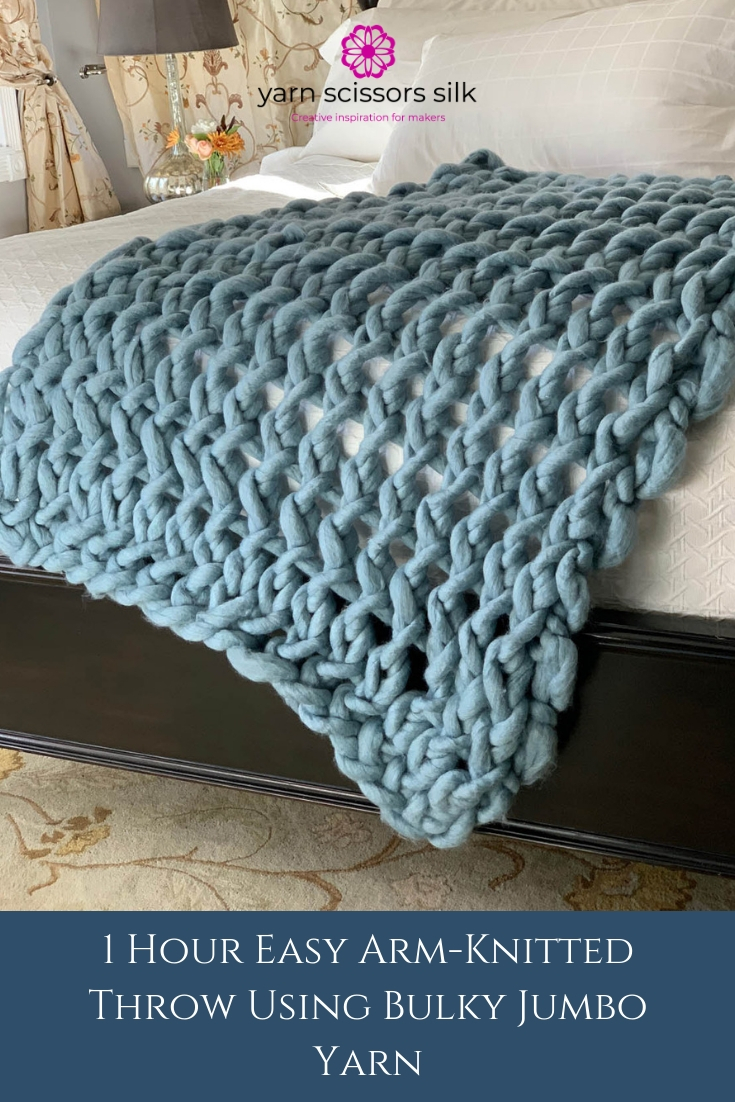 How to make a 1 Hour Easy Arm-Knitted Throw Using Bulky Jumbo Yarn with step-by-step photo tutorials