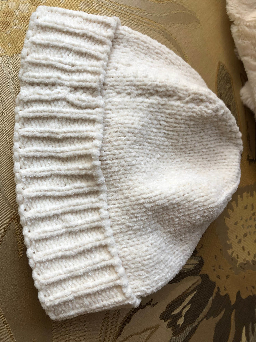 women's white winter chenille hat to embellish with purchased elastic ribbon flower trim