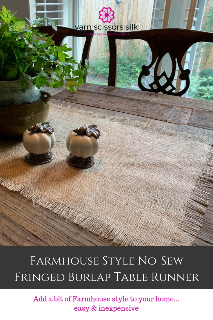 Farmhouse Style No-Sew Fringed Burlap Table Runner