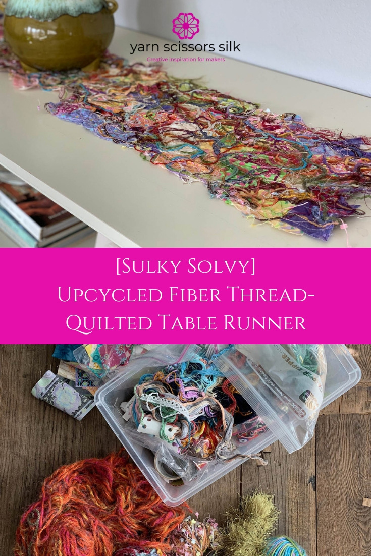 [Sulky Solvy] Upcycled Fiber Thread-Quilted Table Runner by Yarn Scissors Silk