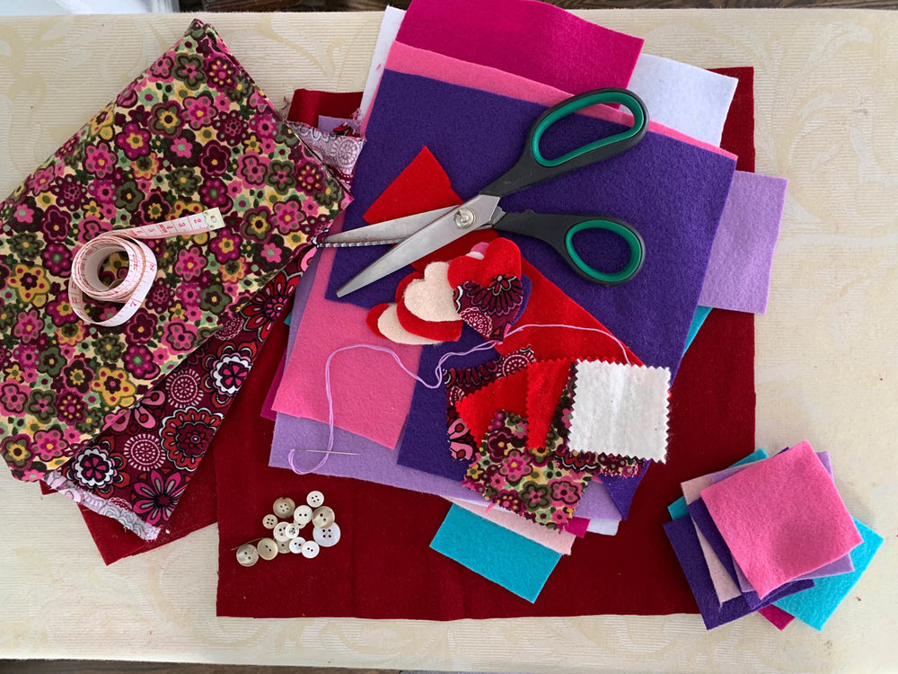 felt and fabric squares with buttons felt scissors and fabric squares