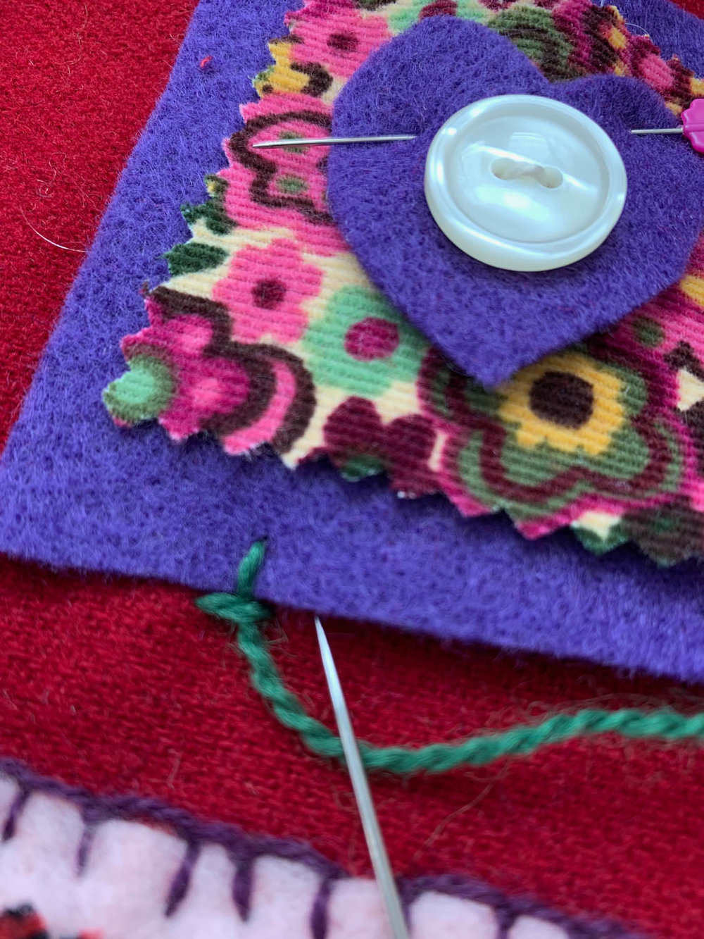 step 1 how to hand embroider blanket stitch on felt squares