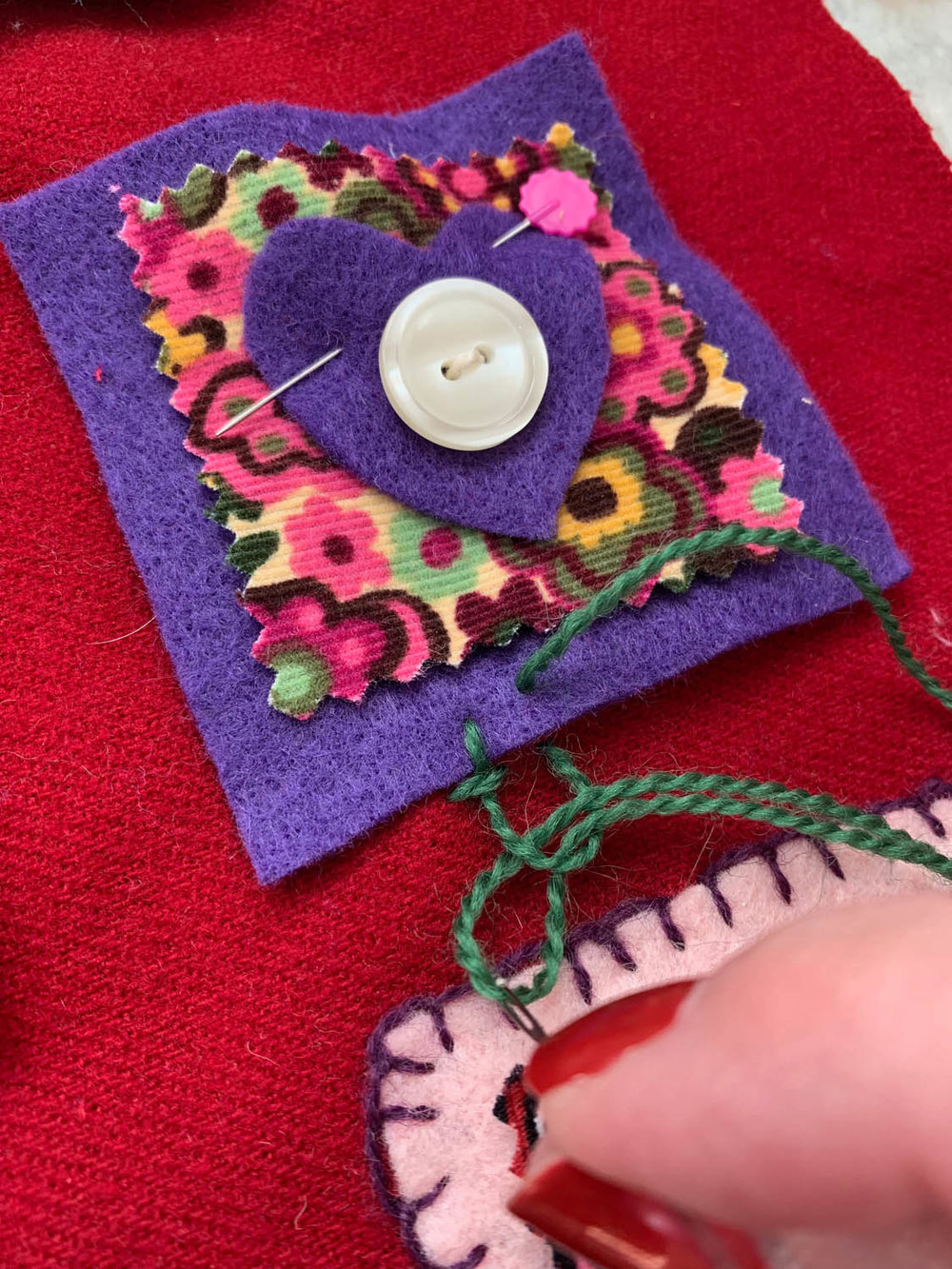 step 3 how to hand embroider blanket stitch on felt squares