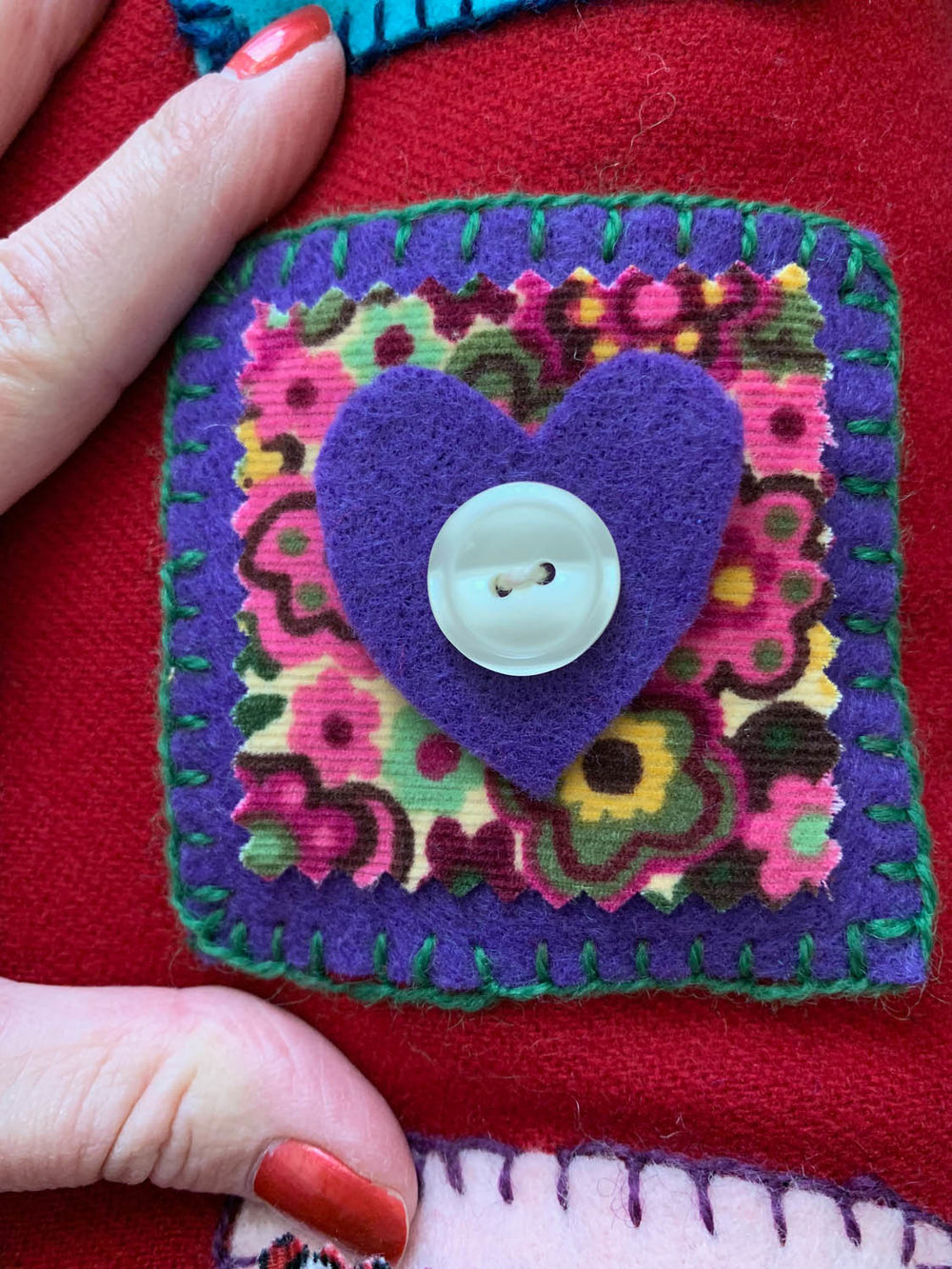 step 6 how to hand embroider blanket stitch on felt squares