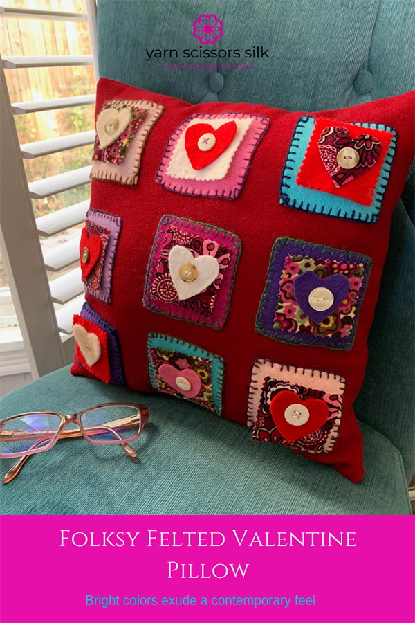 Folksy Felted Valentine Pillow in bright contemporary colors