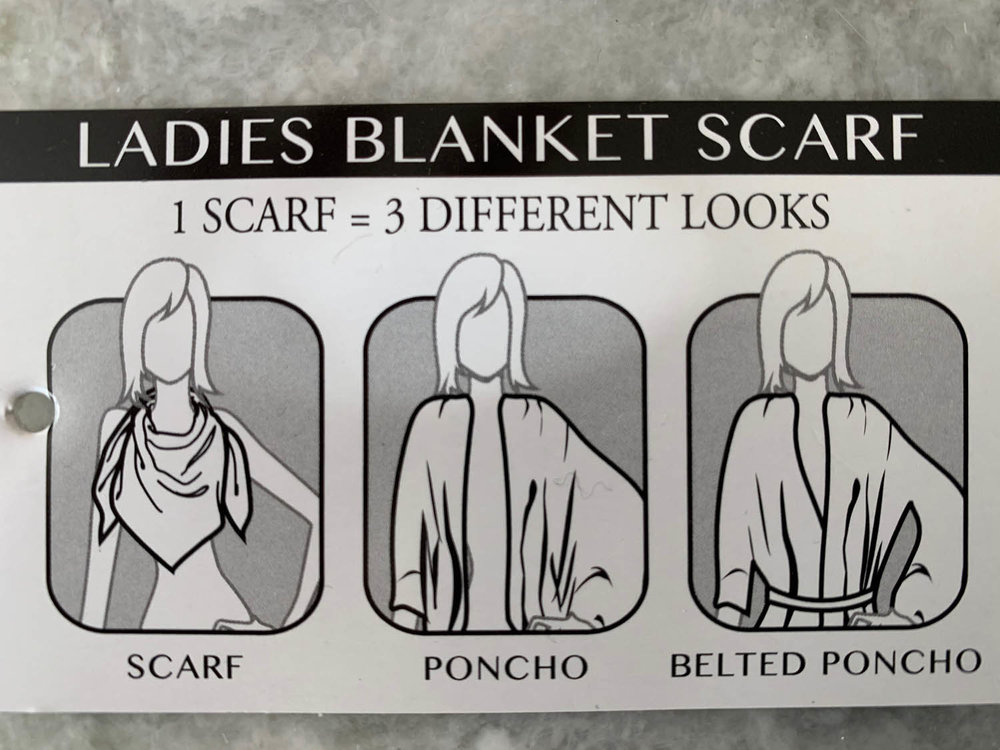 Ladies pre-made shawl blanket scarf ideas for wearing three different ways