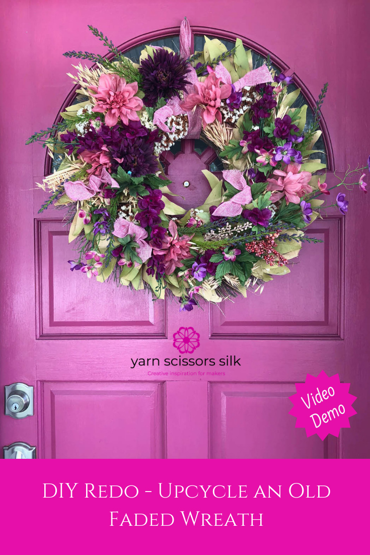 """Upcycle an old faded wreath with """"fresh"""" [silk] flowers for spring! My quick video shows you how to balance and glue embellishments in place."""
