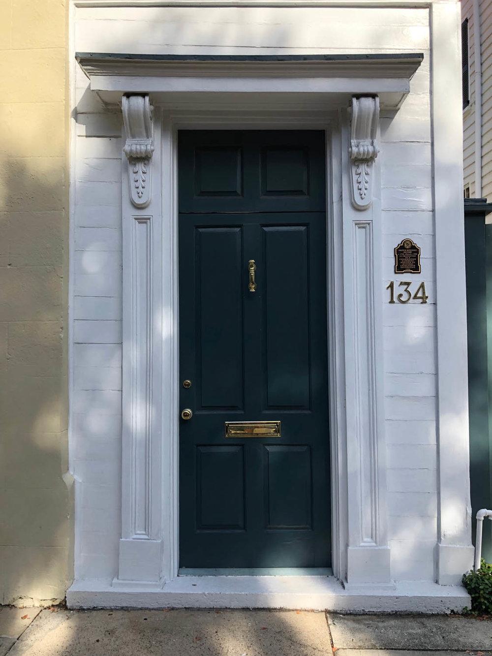 black front door in Charleston South Carolina