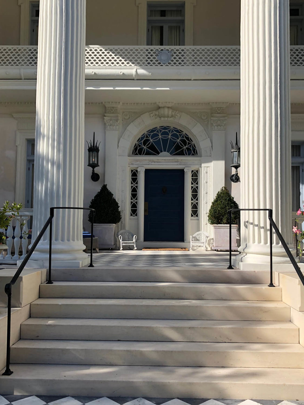 stately entrance into home in Charleston's Battery section