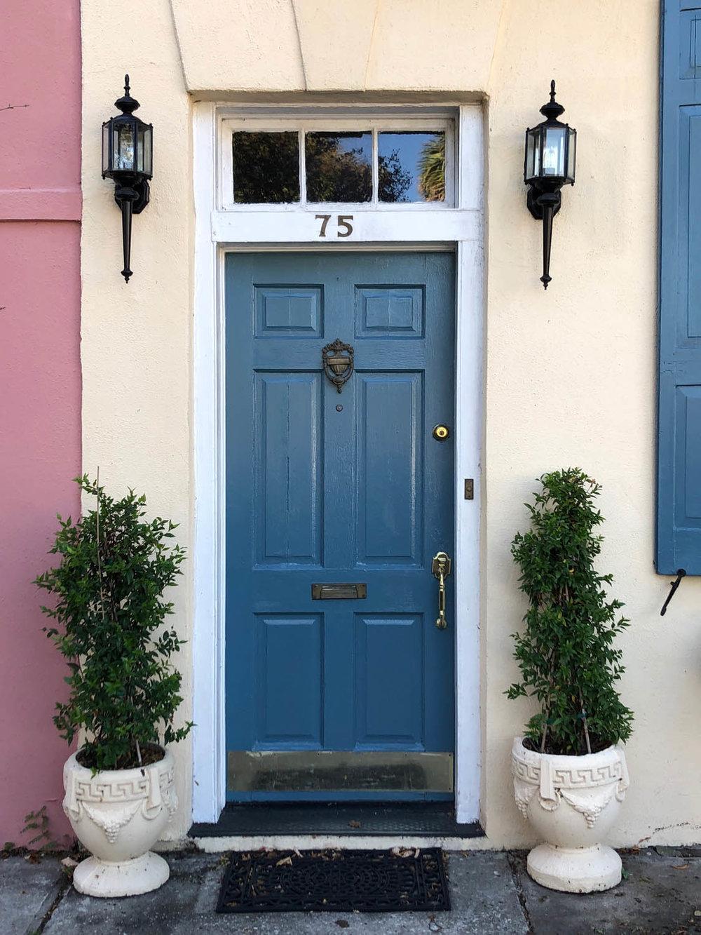 blue door on row house in Charleston South Carolina