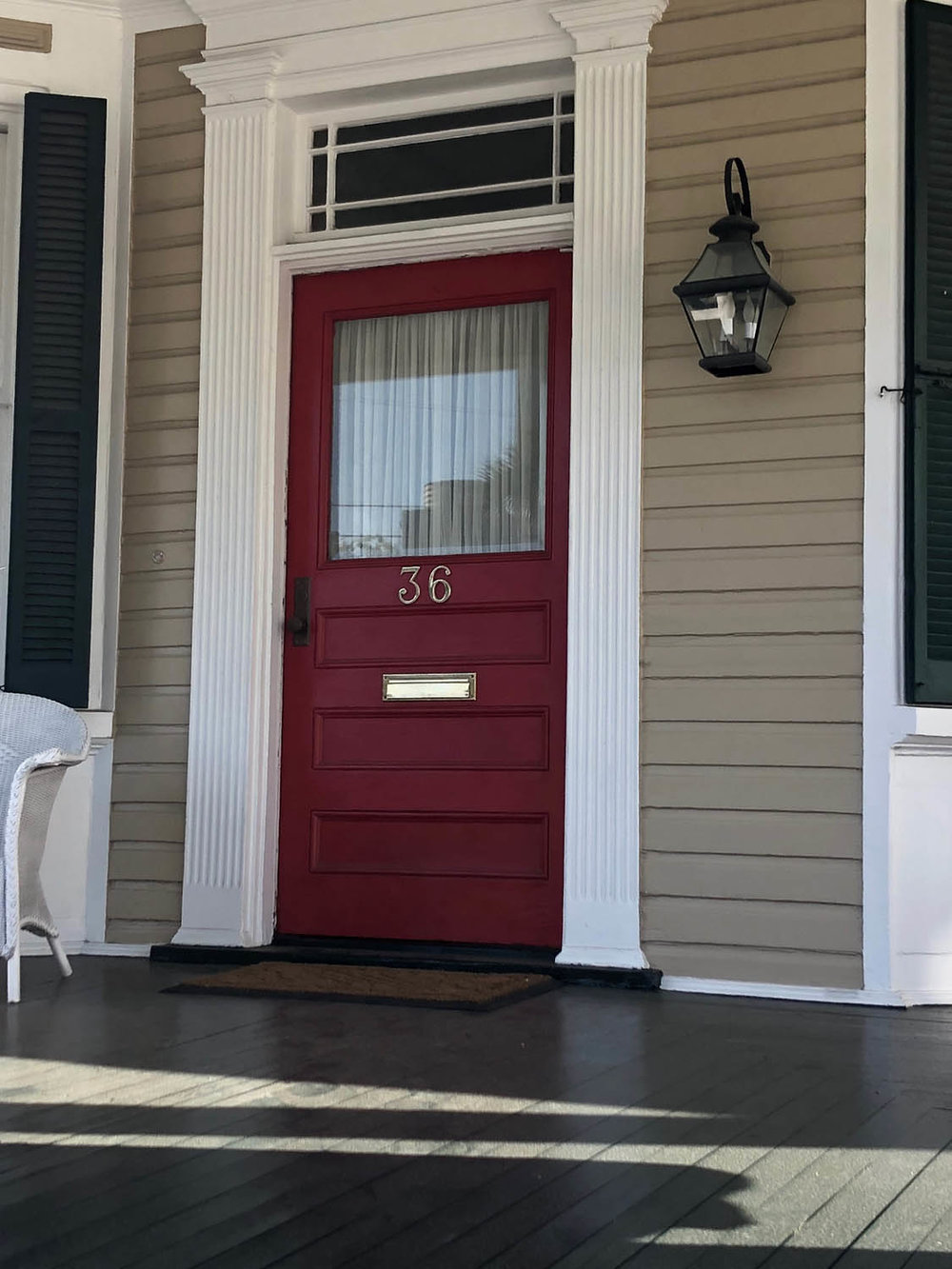 red door on Charleston home
