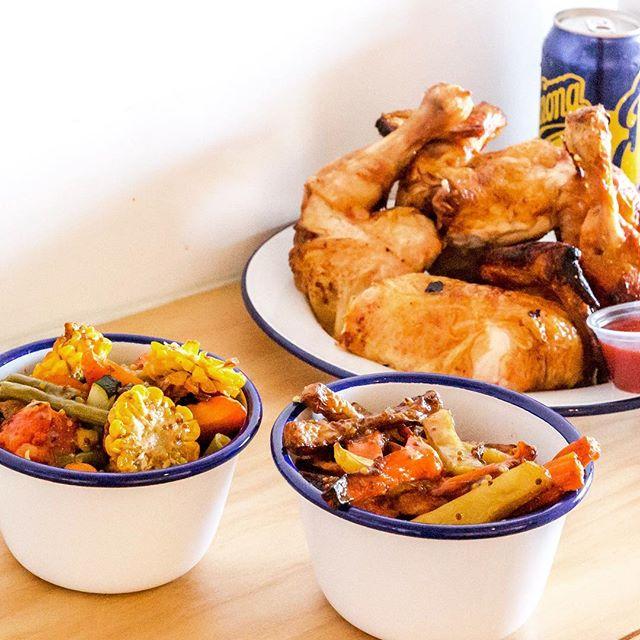 BBQ Roast Chicken, baked veg and an ice cold Passiona...better than you know what! 😘 . . .  #betterthansex #notreally #stillgood #lunch #byronbay #chickenshop #winnerwinnerchickendinner #barefootchook