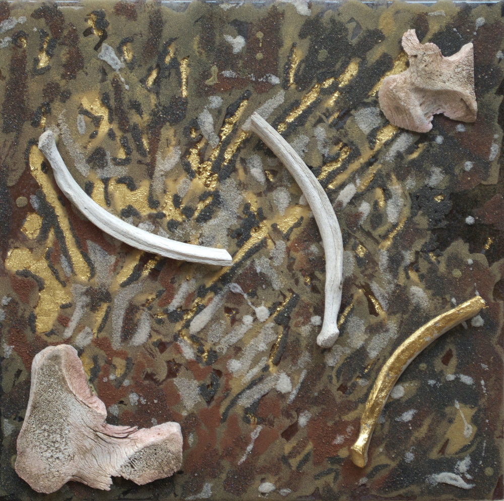 "found sand and bones, gold leaf, enamel, and resin on board.  12"" x 12"""