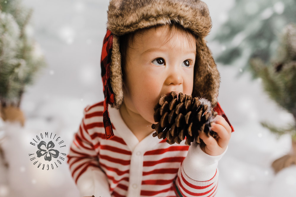 Photo of baby in Christmas mini session in North York, Toronto.