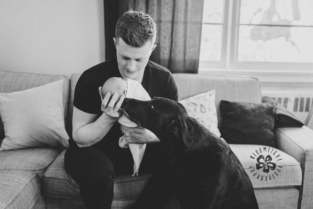 IN-home newborn photo session with a dog
