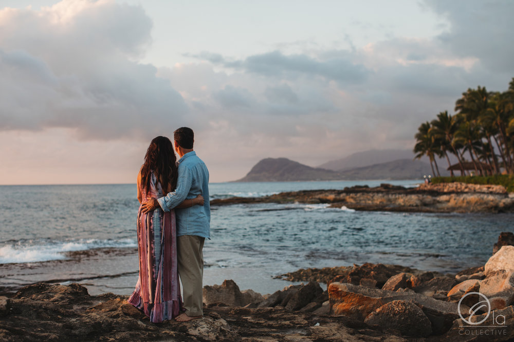 Enjoying their time together in Hawaii as the sun sets.