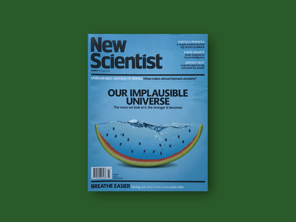 2016   New Scientist,  (UK) Issue 2097, ' Our Implausible Universe'