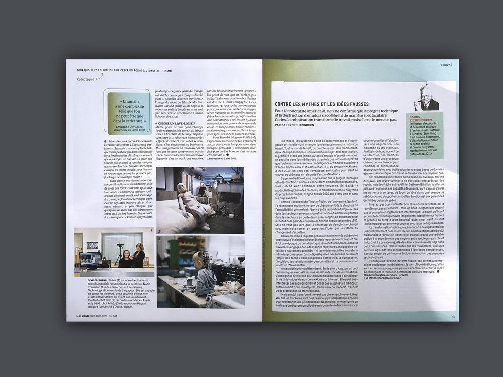 2018 Le Monde,  (FR) Issue May, 'Dans La Têt e  Des Robots'