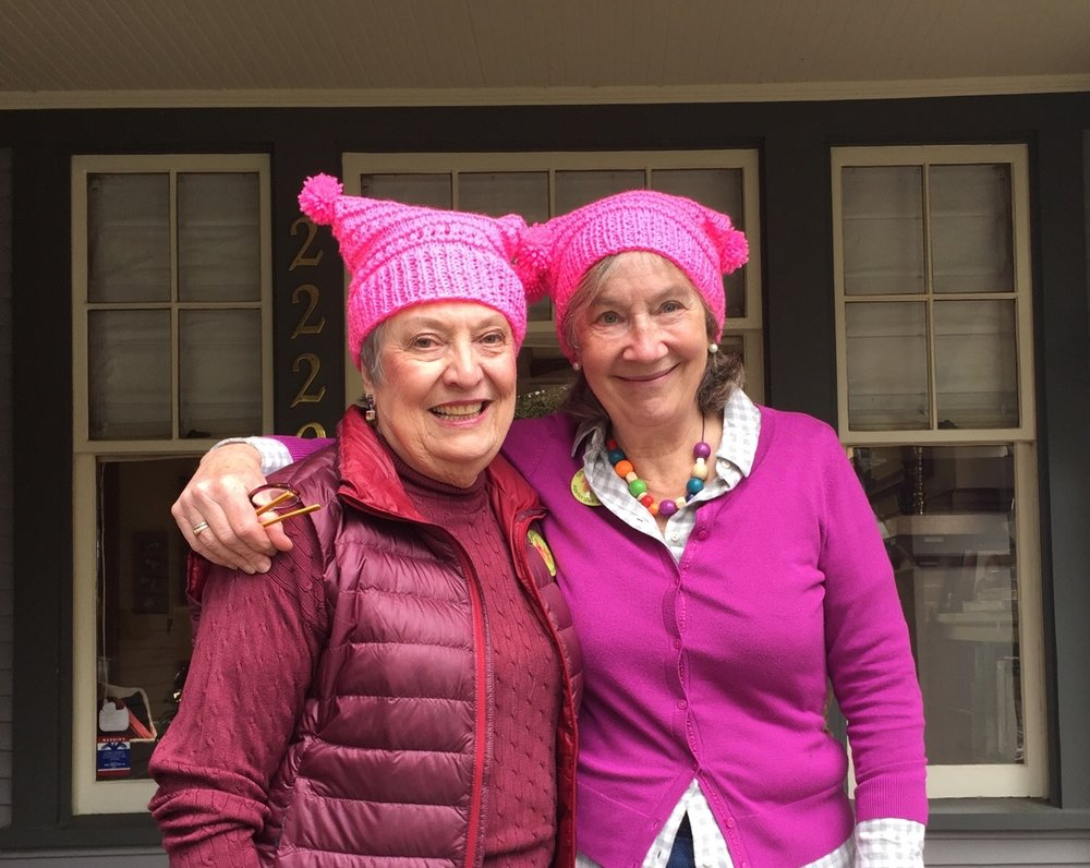 Judy McBroom and Margy Heldring prep for Women's March 1.21.17