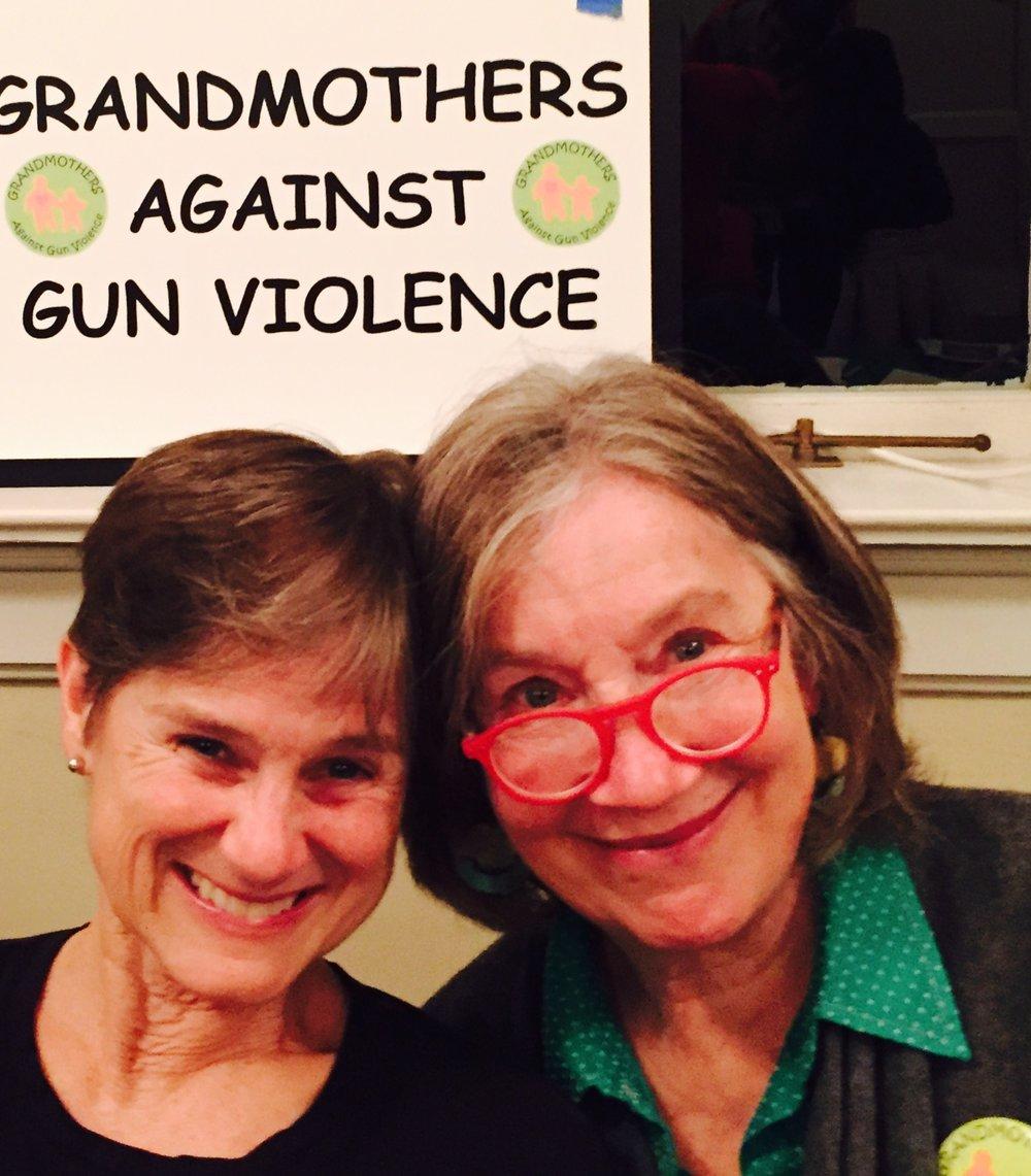 Debbie McDonald and Margy Heldring work for gun violence prevention