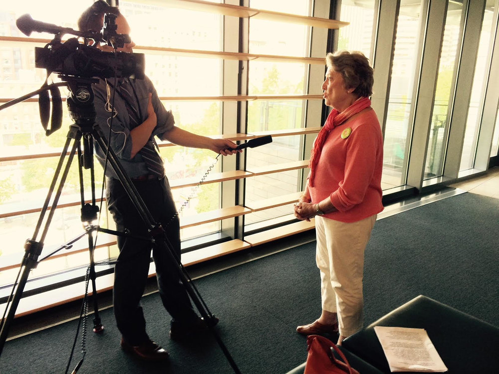Grandmother Vice-Chair, Judy McBroom, is interviewed after giving testimony to Seattle City Council.