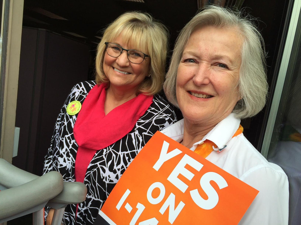 Grandmothers Against Gun Violence member and Washington State First Lady, Trudi Inslee and Legislative Co-Chair, Sue Cary.