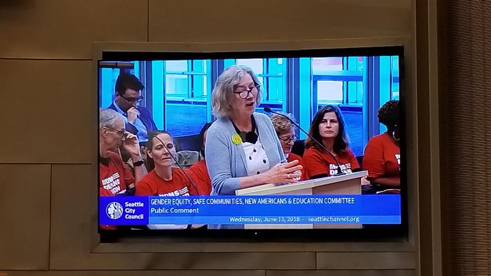 Margaret Heldring, GAGV President, testifying in support of safe gun storage at Seattle City Council