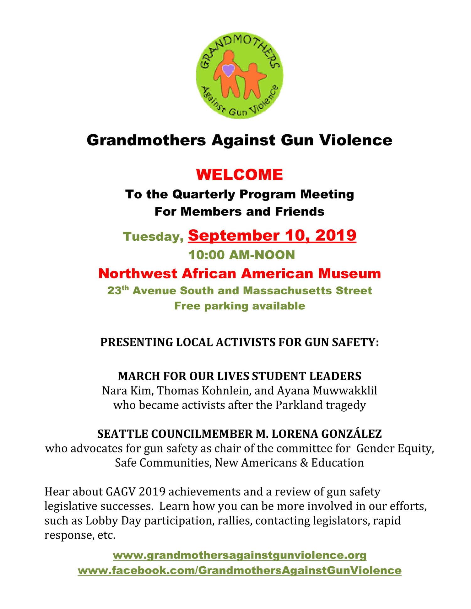 Quarterly Program Meeting — Grandmothers Against Gun Violence
