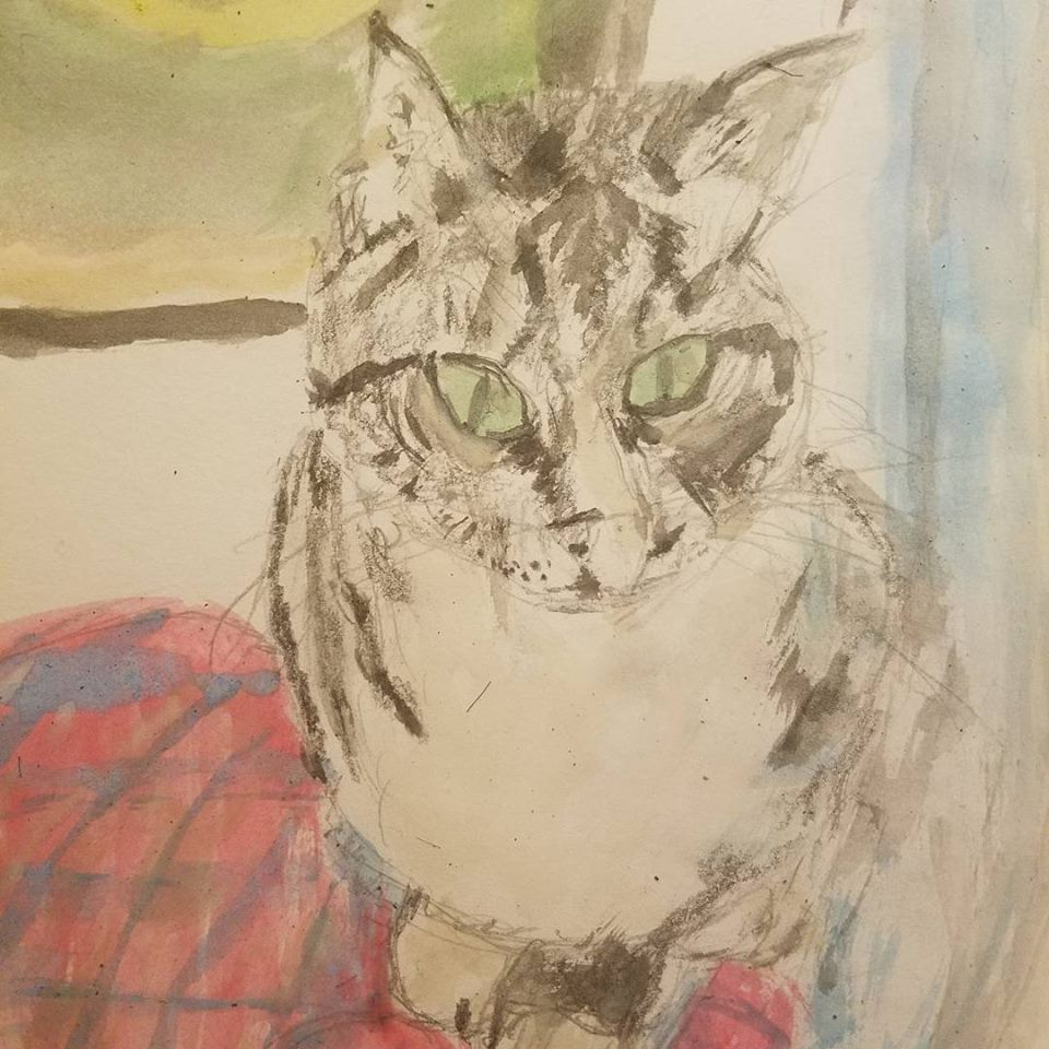A watercolor of my friend's cat.