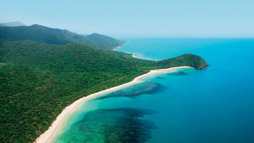 Cape Tribulation from above- You can see the Barrier Reef