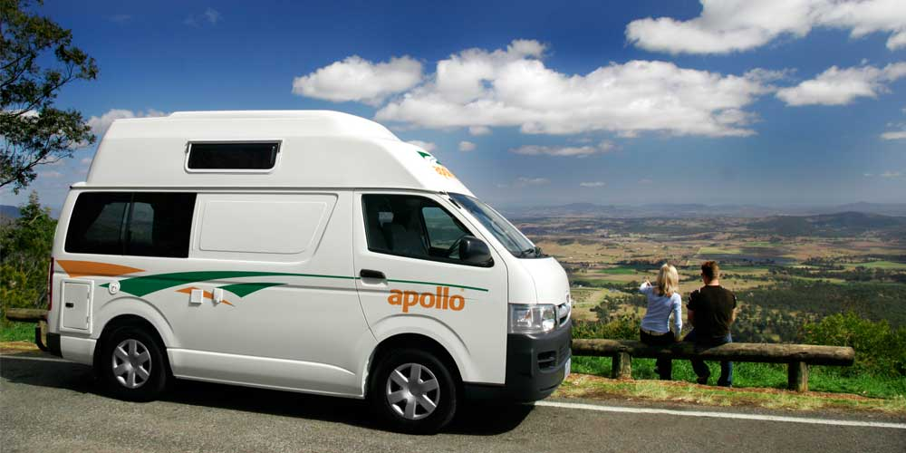 Apollo Motor homes - Apollo Motor homes are good quality, professional quality vehicles. They are usually a bit more upscale than Spaceships, and more discrete than Jucy. Apollo rentals vary from 3 people Hi Tops (Like the photo) to motor homes that fit 5+ people. Click through to get a quote, or request a comparison quote.