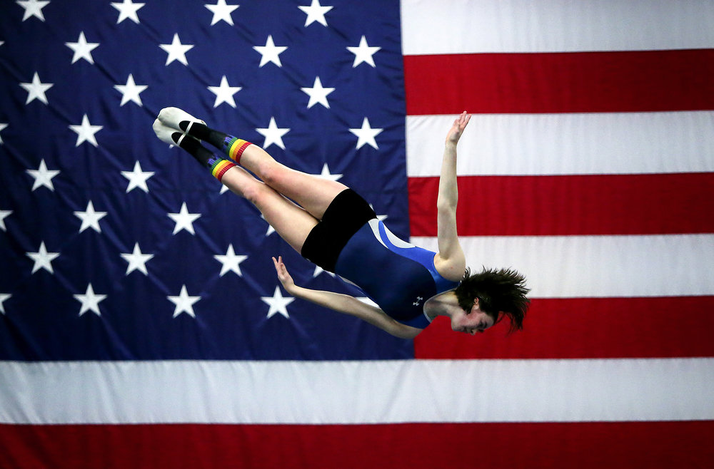 Newport High School junior Betty Reed during her workout routine at Action Athletics Inc. in Bellevue, Friday, Dec. 18, 2015. (Sy Bean / The Seattle Times)