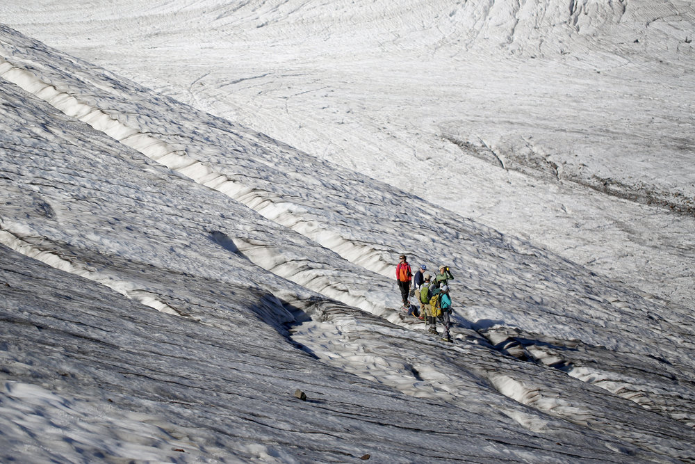 The team of researchers, led by glaciologist Mauri Pelto, travels across Sholes Glacier on Friday, Aug. 7, 2015.
