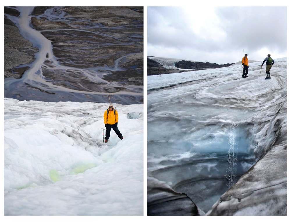 RIGHT: Ben Pelto, son of glaciologist Mauri Pelto, records the time it takes for biodegradable dye to make its way down a glacial stream in order to calculate the volume of runoff on Sholes Glacier. LEFT: Ben Pelto and Tyler Sullivan make their way up Sholes Glacier.