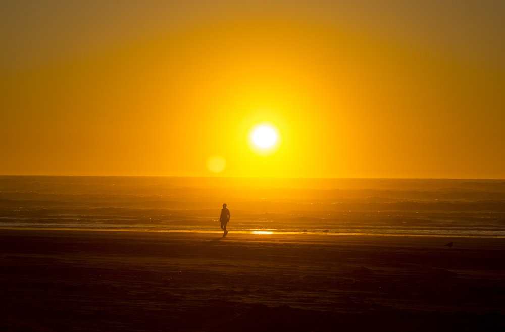 The sun sets over the Pacific Ocean just down the road from Starvation Alley Farms. (Sy Bean / Seattle Refined)