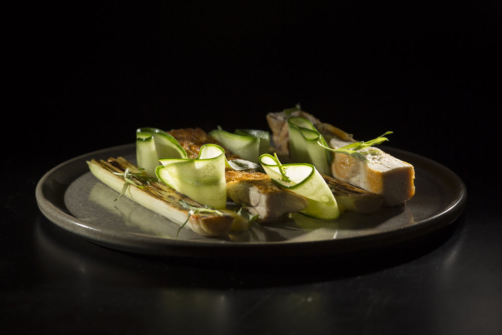 HALF CHICKEN - wood roasted, extra crispy skin + boneless, leeks, cucumber, béarnaise, smoked mustard, and tarragon.