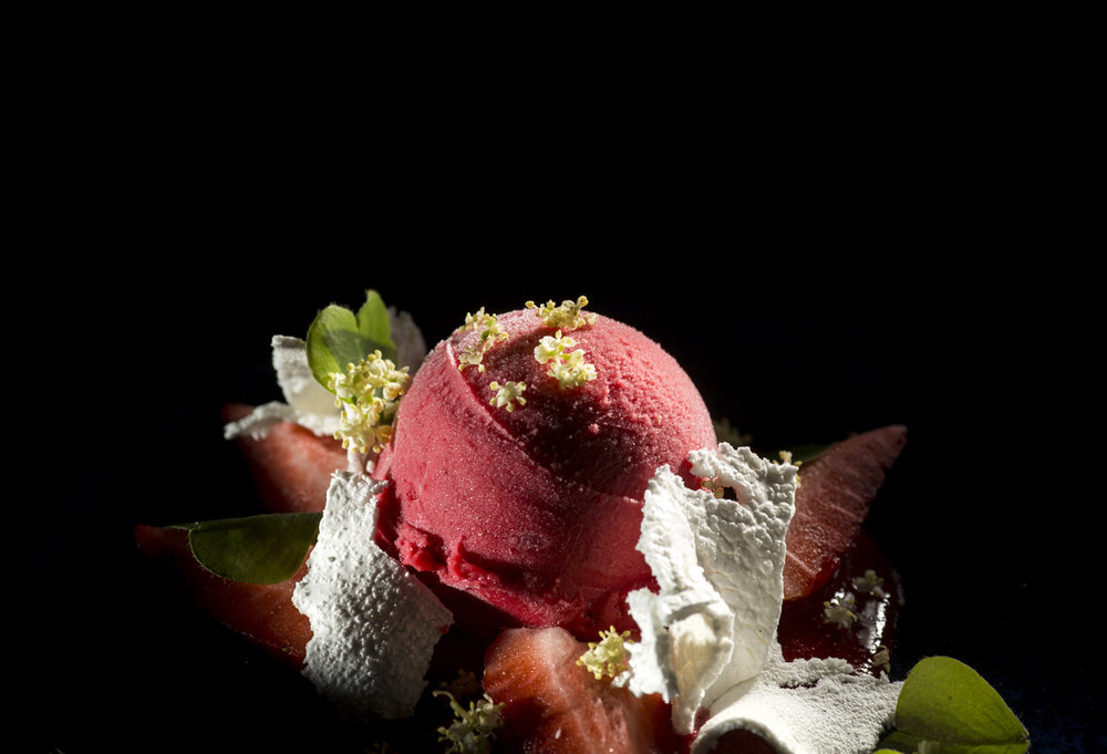 RASPBERRY - raspberry sorbet, yogurt cloud, crispy meringue, fresh berries, and mint.