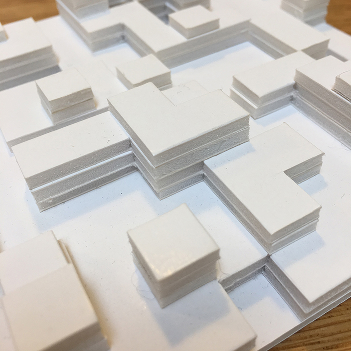 Foam card 3D mock-ups - much more successful, being all white. Easier to see the shadows.
